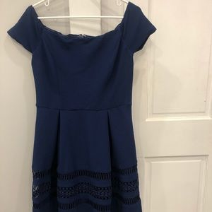 Blue Boatneck/Strapless Dress with A-Line Skirt